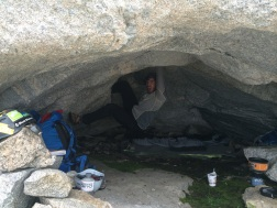 Ben doing some bouldering in our home for the night. Photo: Nick Sweeney