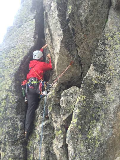 Me starting up the second pitch. I had just started leading trad, and protected the pitch like a total gumby. Photo: Ben Ward