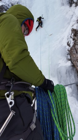 Justin on lead with me on the belay. Photo: Jill Yotz