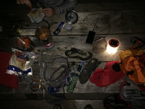 Sorting gear and eating crappy food at Early Winters Campground. Photo: Nick Sweeney